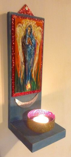 Tea light holder, angel, made by Tim Burton Wakefield artist.
