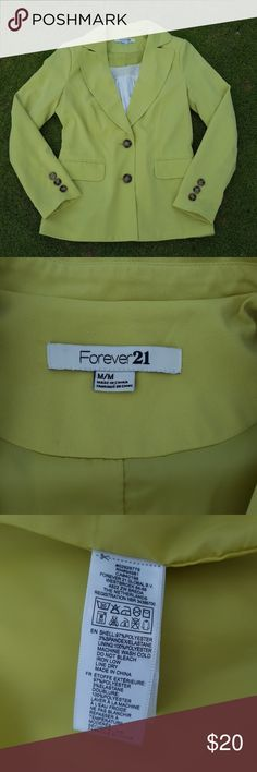 Forever 21 blazer Lime green Forever 21 blazer with brown buttons. No pockets, just the flaps. Size medium. EUC. Cute with jeans and heels or great for work with slacks! White blouse inside not for sell. Forever 21 Jackets & Coats Blazers