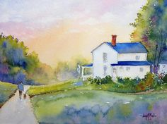 Big Blue Home by Judy Mudd Watercolor ~ 8 x 10