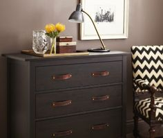 love the chair - reupholster hemnes dresser with new pulls  great wall colour. farrow and ball - london clay