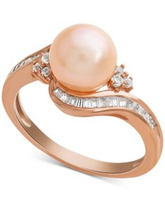 a6a99ac0d Pink Cultured Freshwater Pearl (8mm) & Diamond (1/4 ct. t.w.) Swirl Ring in 14k  Rose Gold - Rose gold
