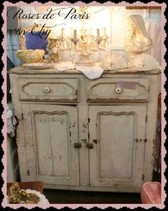 OMG  Shabby French Farmhouse sideboard  old CHIPPY by ROSESdePARIS