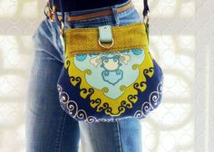 Handmade Trina Turk Print Crossbody Purse Featuring Trina's 'Super Paradise Print' in 'Pool' from F. Schumacher & Co. Textiles by textilecouture, $115.00