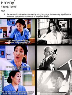 Grey's Anatomy - oh the irony Greys Anatomy Funny, Grey Anatomy Quotes, Grays Anatomy, Greys Anatomy Plane Crash, Greys Anatomy Season 8, Anatomy Humor, Grey Quotes, Tv Quotes, Oh The Irony