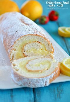 A light angel cake roll filled with a creamy lemon filling, makes an impressive (lighter) dessert!