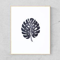 Handmade Monstera Leaf Linocut Print - Cheese Plant - Tropical - Palm Leaf £14.99