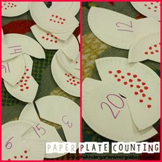 Paper plate puzzles! This is a cheap and simple math center for counting from 1-20! #preschool #education #efl (repinned by Super Simple Songs)