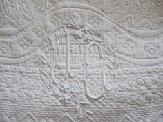 Antique French Pique Boutis Quilt. White Cotton Monogram MC Wonderful Quality. King Size by JacquelineMcEwan on Etsy