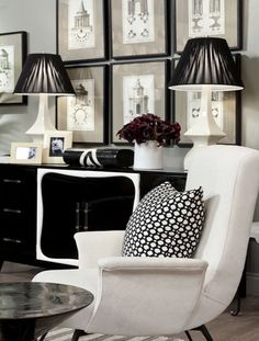 Black and white room + I would do gold accents I think