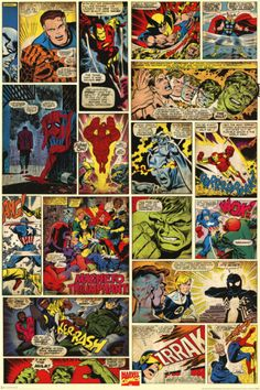 "Decorating idea -- could cut and trim this poster to ""wallpaper"" the panels on my white cabinet doors. One poster would cover two door panels. Marvel Comics (Comic Panels) Photo at AllPosters.com"