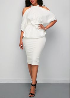 Cold Shoulder White Top and Back Slit Skirt,put on it and enjoy yourself heartily, share this dress with your friend, check it out.