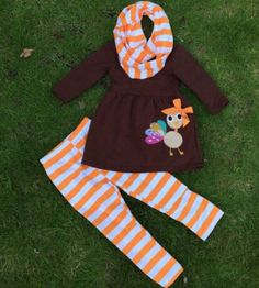 Baby Girl Thanksgiving Little Turkey Applique  Pc Orange Striped Girls Boutique Outfit Clothing Set Infinity