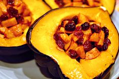 Acorn Squash with Cranberry Apple Stuffing on http://www.elanaspantry.com