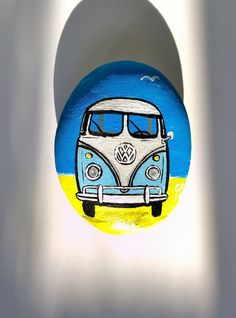 VW camper van. Painted pebble/rock. Camper van art by UK artist