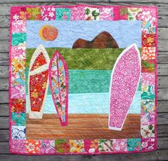 Girls Surfboard Baby Quilt approx. 41x41 by studioscumble on Etsy, $195.00  surf, Hawaiian, tropical