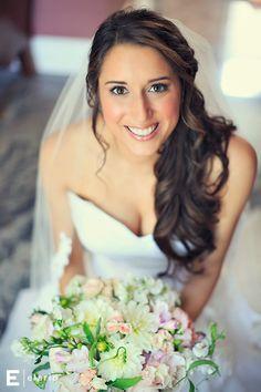 Melissa. Wedding hair, side curls, bridal hair, long hair. Bridal hair…