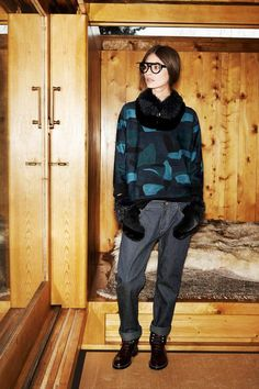 Louis Vuitton Pre-Fall 2014, striped trousers, circle scarf, mittens