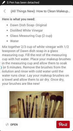 Clean makeup brushes with dawn and vinegar