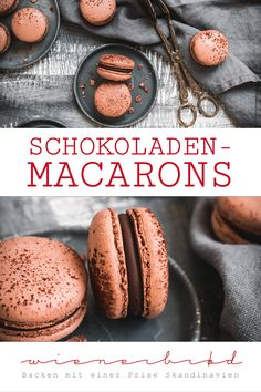Chocolate macarons - Chocolate macarons, with the most chocolatey meringue and melt-in-the-mouth whole milk ganache, rec - Baked Donut Recipes, Tea Recipes, Sweet Recipes, Baking Recipes, German Chocolate Brownies, Scones Ingredients, Homemade Donuts, Desert Recipes, Macaroons