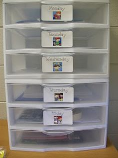 Each drawer is labeled with a day of the week, and in each drawer I keep copies for the day and/or things I need to copy that day, picture books I will use, notes to go home, and other random things that I will need to give out or complete. I just open up the drawer, and everything I need is right there!