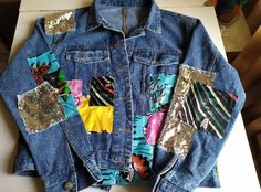 Denim Bomber Jacket, Denim Jacket Fashion, Denim Jacket Embroidery, Denim Ideas, Denim Purse, Sequin Jacket, Queen, Jackets For Women, Scrappy Quilts