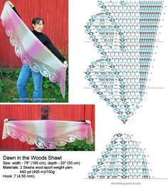 Crochet Patterns Poncho Crochet Dawn in the Woods Shawl Crochet summer shawl- Made by Angela. Pretty lace shawl and pattern Shawl or Wrap skirt This Pin was discovered by Mar Poncho Au Crochet, Col Crochet, Crochet Triangle, Crochet Poncho Patterns, Crochet Motifs, Crochet Shawls And Wraps, Crochet Diagram, Crochet Chart, Knitted Shawls