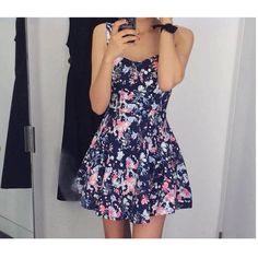 Floral Print Sleeveless Dress ($17) ❤ liked on Polyvore featuring dresses, dark blue floral dress, deep blue dress, floral day dress, pin up dresses and flower printed dress