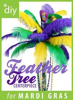 DIY Mardi Gras Feather Tree Centerpiece