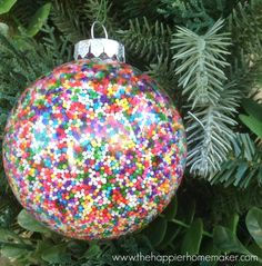 This simple to follow tutorial will teach you to make your own DIY Sprinkle Ornaments and give you the tips to make them turn out perfectly every time!