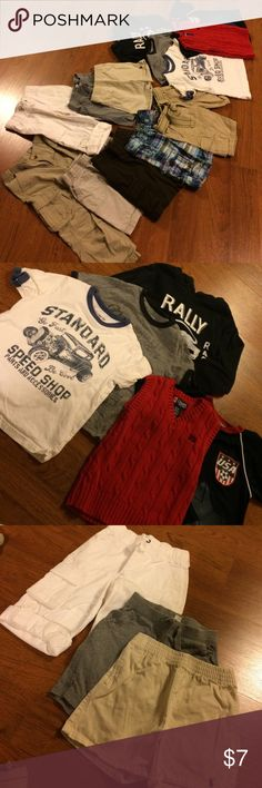 A bundle of boys clothes, size 3-4 yrs This bundle includes 1 Greendog long khaki pants (sz 4), 1 brown Sonoma short pants (sz 4), 1 Jumping beans khaki shorts (sz 4), 1 Company B khaki shorts with belt (sz 4), 1 Cherokee plaid shorts (sz 4), 1 White Gymboree (sz 3), 1 Ralph Lauten khaki shorts (sz 3), 1 gray Gap shorts (sz 3), 2 Gap tshirts, 1 Gap hoodie, 1 red Chaps knitted vest, and 1 tech sports shirt.  All tops are size 4.  All in good condition.  No stains. various One Pieces