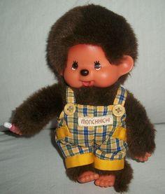 """Sekiguchi Monchhichi Monkey Plush Brown Plaid Overalls Small 7"""" #Sekiguchi"""