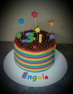 Rainbow with chocolate balls cake