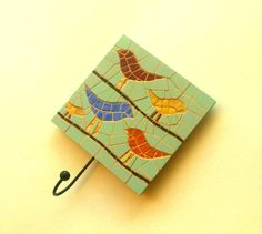 Decorative wall hook with mosaic birds