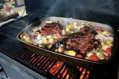 Grilled Pot Roast  in the center of the grill