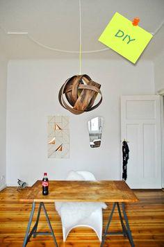 Cómo hacer una lámpara moderna con chapa de madera