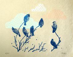 bluebird+clouds++original+linocut+print++limited+por+SiebenMorgen