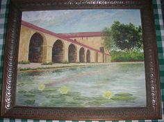 California San Miguel Arcangel Mission Original Framed Oil Painting Signed