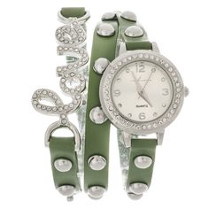 Xtreme Via Nova Women's Platinum-tone Rhinestone Accent 'Love' Wrap... ($24) ❤ liked on Polyvore featuring jewelry, watches, silver, water resistant watches, green bezel watches, bezel watches, green watches and platinum jewelry