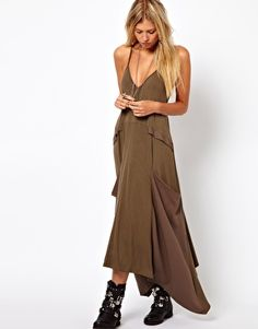 3a1e5ab29ab ASOS Maxi Dress With Drape Pockets  wtf it looks like she is wearing an  army tent. If this bean pole looks fat in something I cannot imagine the  average ...