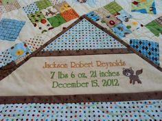 Another baby quilt label for a gift with machine embroidery