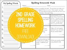 FREE Reusable Grade Spelling Homework Assignments- 6 different spelling tic-tac-toe forms for students to use as weekly homework. Each week has a space for students to write 10 spelling words and t. 2nd Grade Spelling, Spelling Homework, Spelling Practice, Spelling Activities, Spelling And Grammar, 2nd Grade Ela, 2nd Grade Reading, Spelling Words, Second Grade