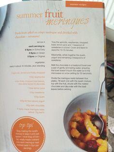 Summer fruit meringues slimming world Slimming World Recipes, Summer Fruit, Meringue, Summer Recipes, Fresh Fruit, Raspberry, Cooking Recipes, Inspiration, Food