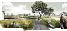 DELVA Landscape Architects & Plusoffice Architects win Leiemeersen competition is part of Landscape architecture graphics - The chief ambition is the realisation of an attractive village ring that connects Kuurne with its valuable open space Villa Architecture, Landscape Architecture Drawing, Architecture Graphics, Landscape Plans, Urban Landscape, Landscape Design, Landscape Architects, Landscape Architecture Perspective, Architecture Collage