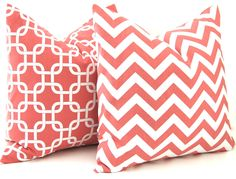 Coral Pillows Decorative Throw Pillow Covers Chevron Pillows 20 x 20 Inches Coral Chevron and More Collection Mix and Match. $34.00, via Etsy.