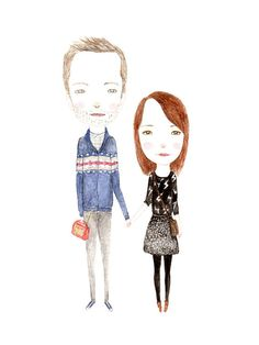 CUSTOM WATERCOLOR PORTRAIT  couple by poppopportraits on Etsy, $145.00 - an idea for us and the pug!