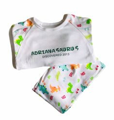 Dinosaur Personalised kids pyjama , birthday pyjamas , Personalised pyjamas , children's pjs , Jurassic pjs Boys Pjs, Kids Pajamas, Pyjamas, Track My Shipment, Customizable Shirts, Personalized Pajamas, Irish Baby, Kids Beanies, Baby Vest