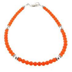 Dark Orange Cats Eye & Sterling Silver Beaded Gemstone Anklet