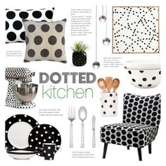 """""""Dotted Kitchen"""" by alexandrazeres ❤ liked on Polyvore featuring interior, interiors, interior design, home, home decor, interior decorating, Red Vanilla, Kate Spade, Pillow Decor and Sugarboo Designs"""