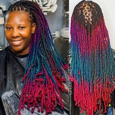 Ever experimented with multiple colours before? Dreadlock Styles, Dreads Styles, Dreadlock Hairstyles, Cool Hairstyles, Beautiful Black Hair, Rope Twist, Healthy Hair Growth, Hair Game