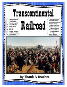 We love writing history texts that our students can read and actually enjoy! Teacher's rave about our units! This unit includes thebuilding of the Transcontinental railroad, the major players and it's influence on American history.Included in this unit:Full Color text with images -great for smart boardsInk Friendly version with no color- for printingTranscontinental Board GameCritical Thinking Discussion QuestionsGet One-Give one Note formWord SearchWriting PromptAwesome Art ProjectWith…
